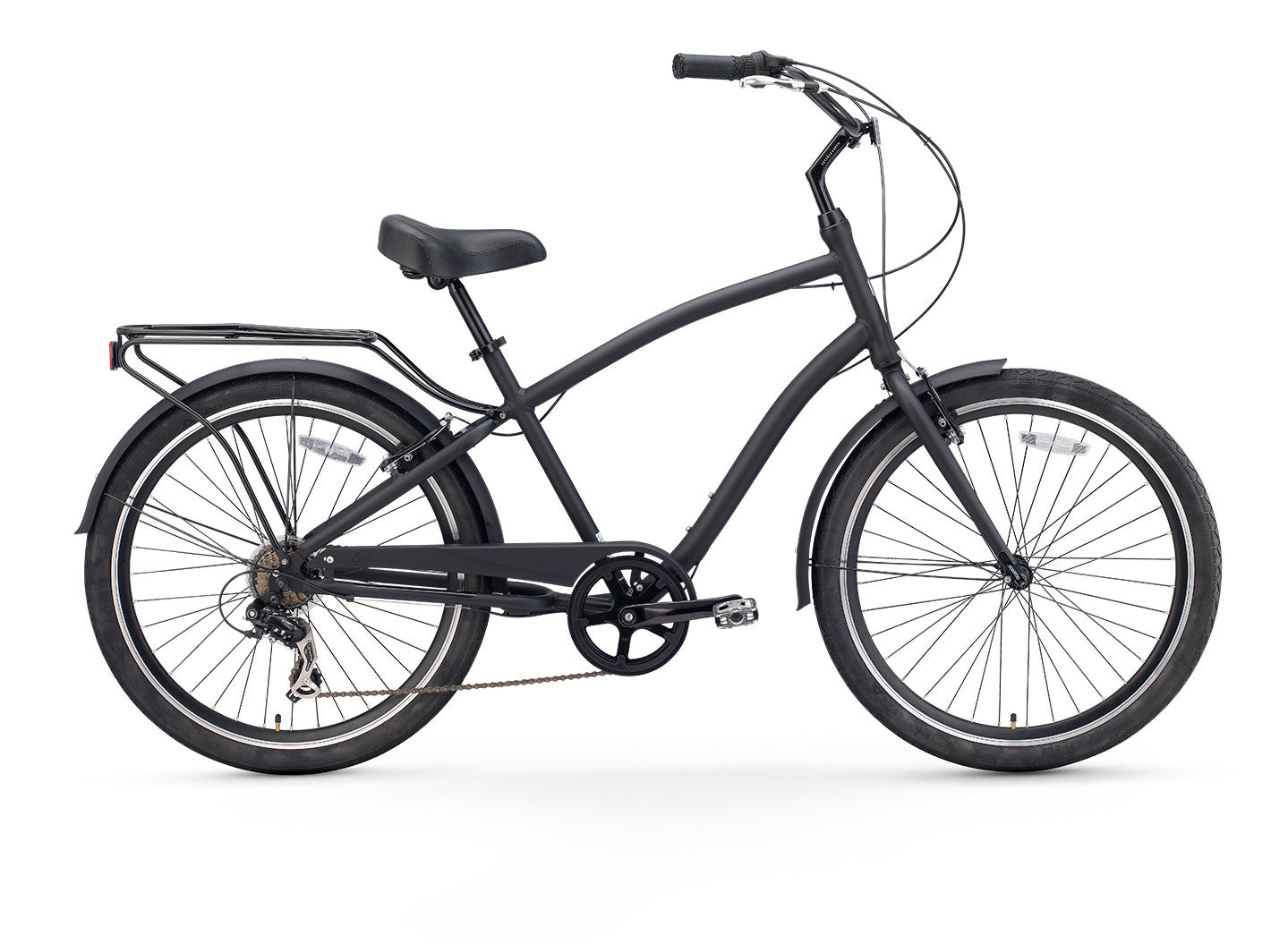EVRYjourney Men's 7sp - Touring Hybrid Bike, Matte Black