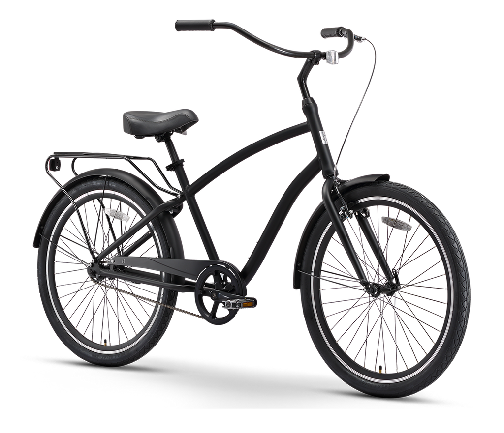 "sixthreezero EVRYjourney Men's 26"" Single Speed Touring Hybrid Bike, Matte Black"
