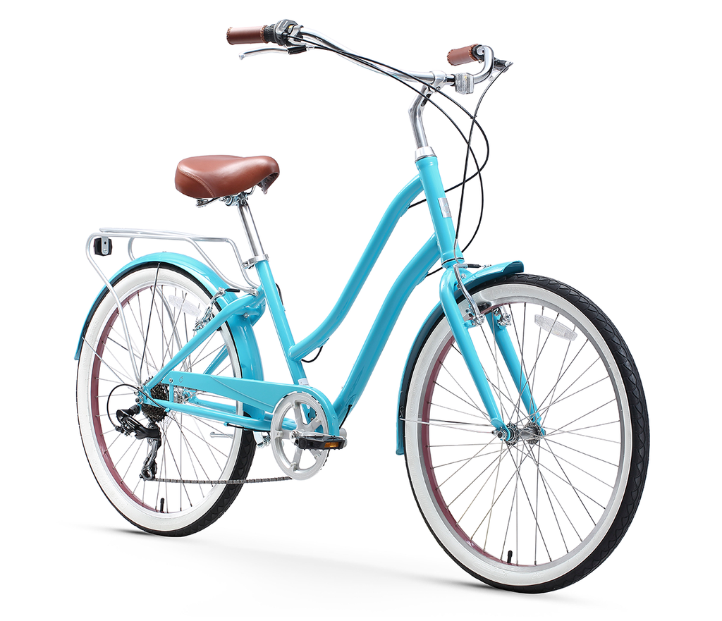 "sixthreezero EVRYjourney Women's 26"" 7 Speed Steel Step-Through Touring Hybrid Bicycle"
