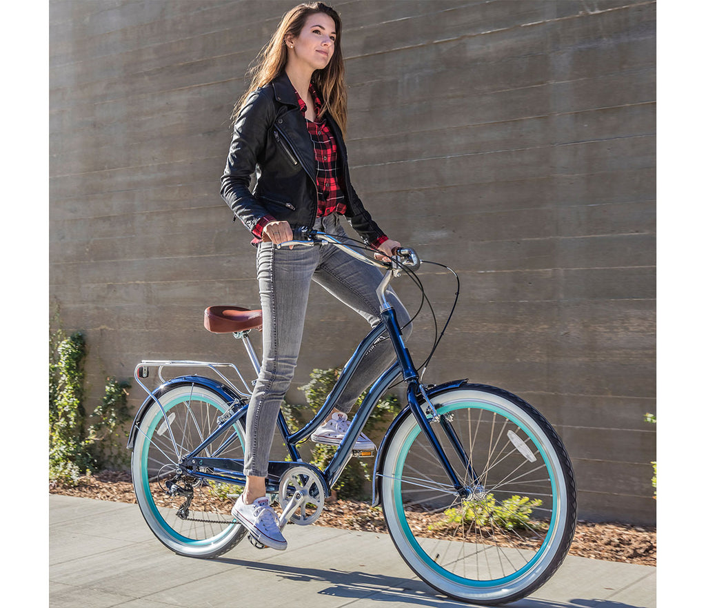 "sixthreezero EVRYjourney Women's 26"" 7 Speed Step-Through Touring Hybrid Bicycle"