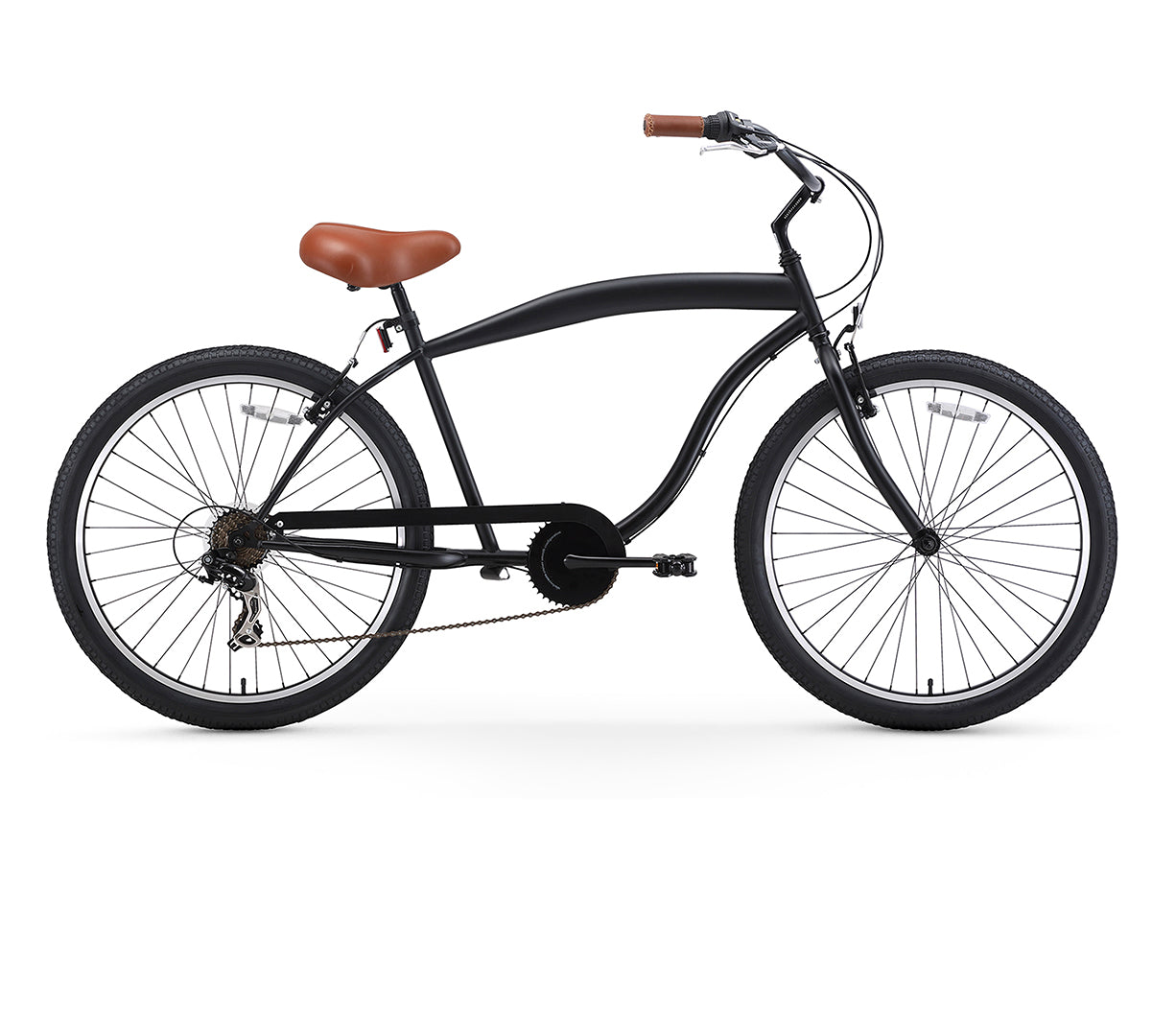 sixthreezero In The Barrel 7 Speed Men's Beach Cruiser Bike, Matte Black