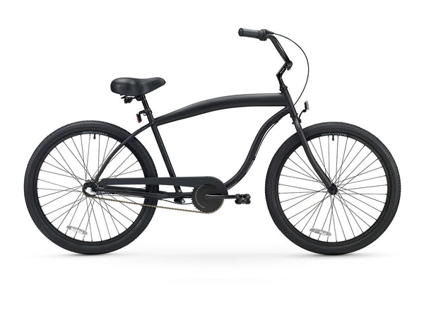 Men\'s 3 Speed Matte Black Beach Cruiser Bicycle | 3sp Black Bike For ...