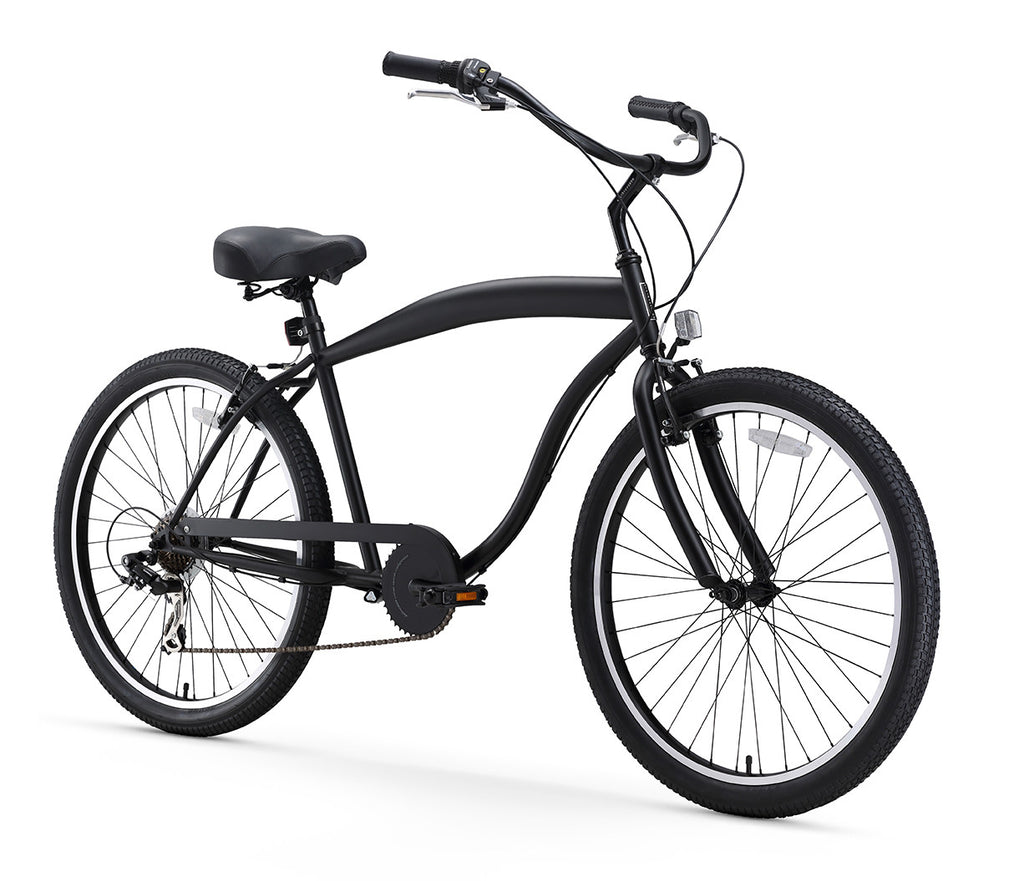 In The Barrel 7 Speed Men's Beach Cruiser Bike, Matte Black