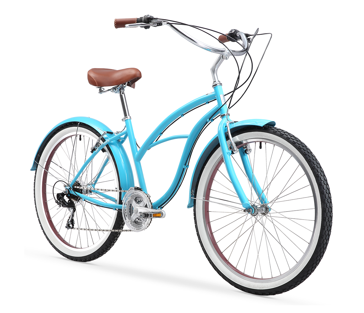 "sixthreezero Teal Women's 26"" 21 Speed Beach Cruiser Bicycle"