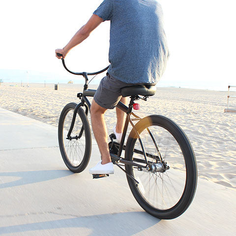 In The Barrel Man 3-Speed, Matte Black - Men's Beach Cruiser Bike