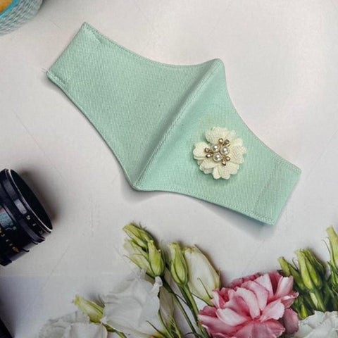 White Pearl Flower On Teal - Women's Mask