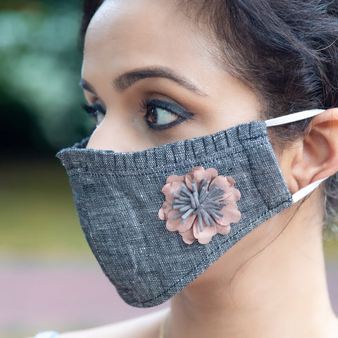 Gray Dirty Pink Flower Women's Mask