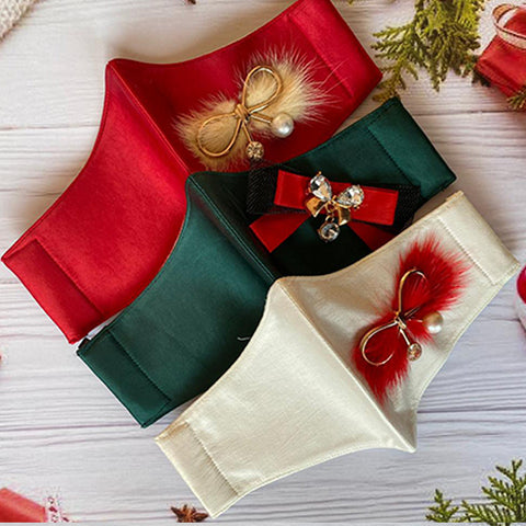 Set of 3 Winter Plush Bows - Women Mask