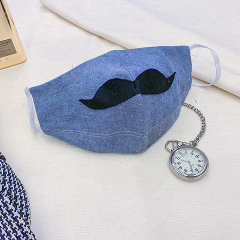 Mask - Blue Denim Moustache Mask