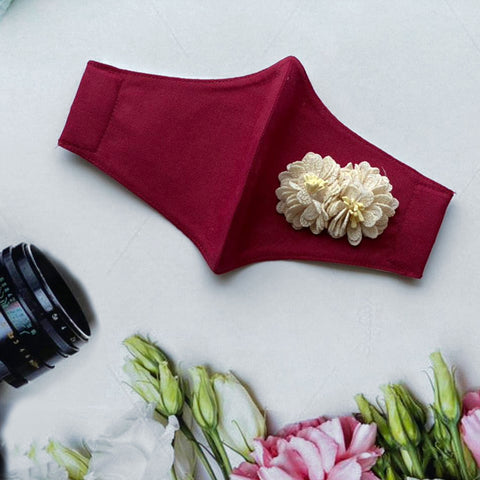 White Carnation on Maroon