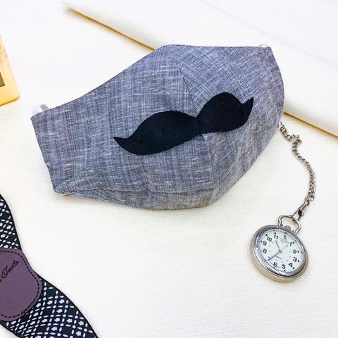 Mask - Gray Moustache Mask