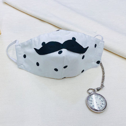 Mask - White Polka Dots Moustache Mask