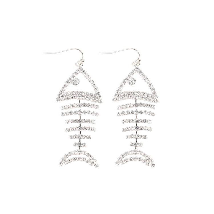 Rhinestone Fish Bone Dangle Earrings - Brim & Boho