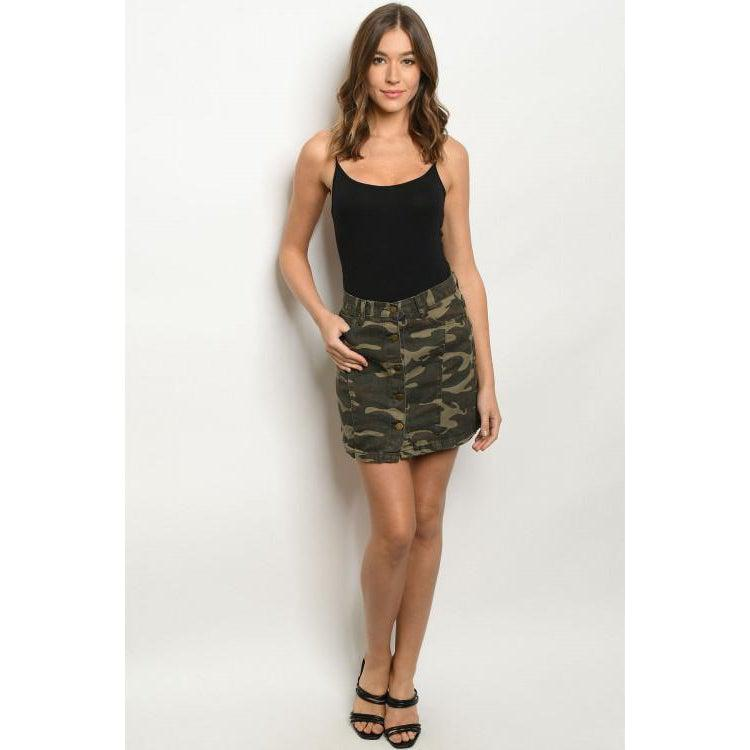 Button Front Camo Skirt - Brim & Boho