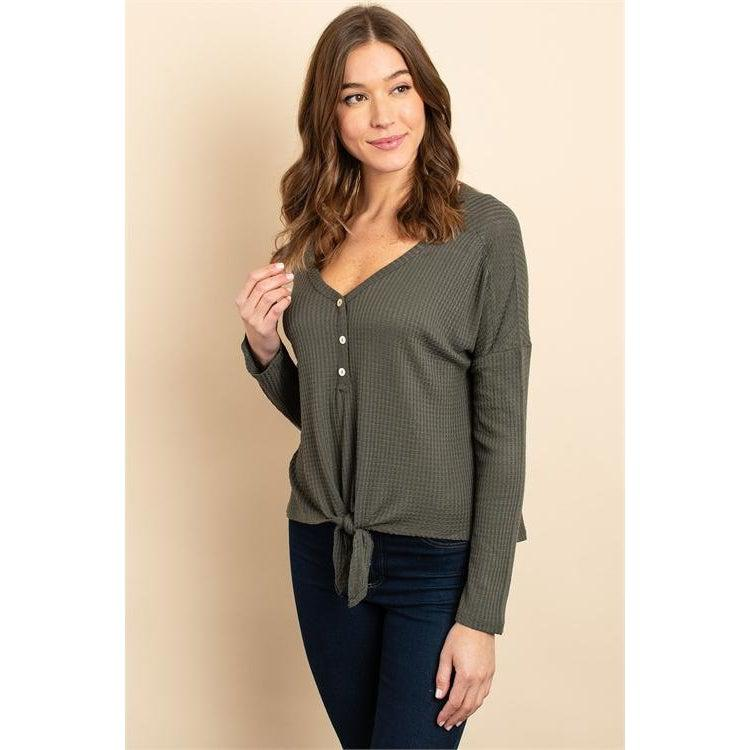 Long Sleeve Top with Tie Front - Brim & Boho