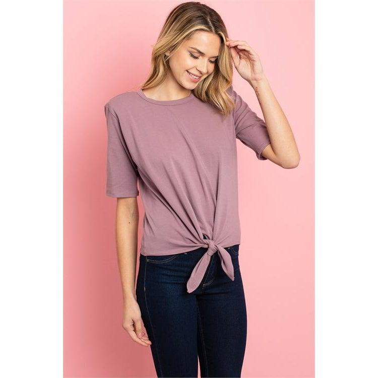 Tie Front Top in Rose - Brim & Boho
