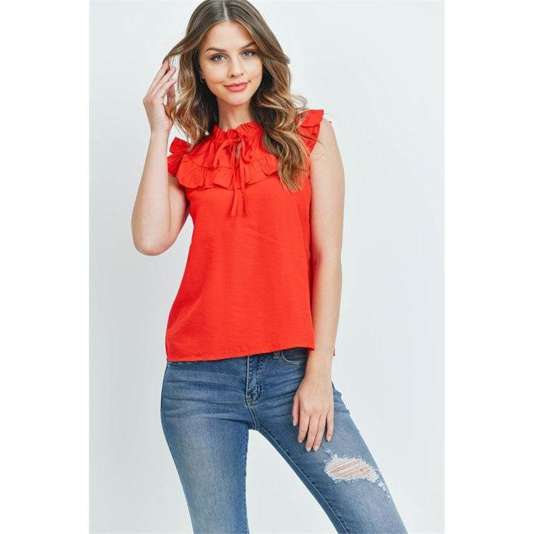 Red Sleeveless Top with Ruffle Detail - Brim & Boho