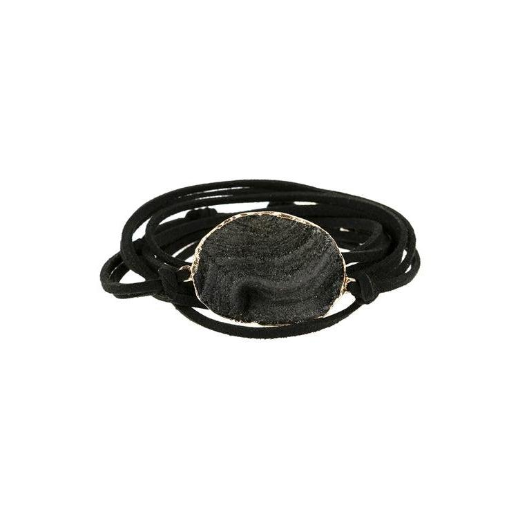 Faux Leather and Black Stone Bracelet or Necklace - Brim & Boho