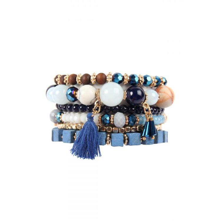 Blue and Gold Boho Bracelet Set - Brim & Boho
