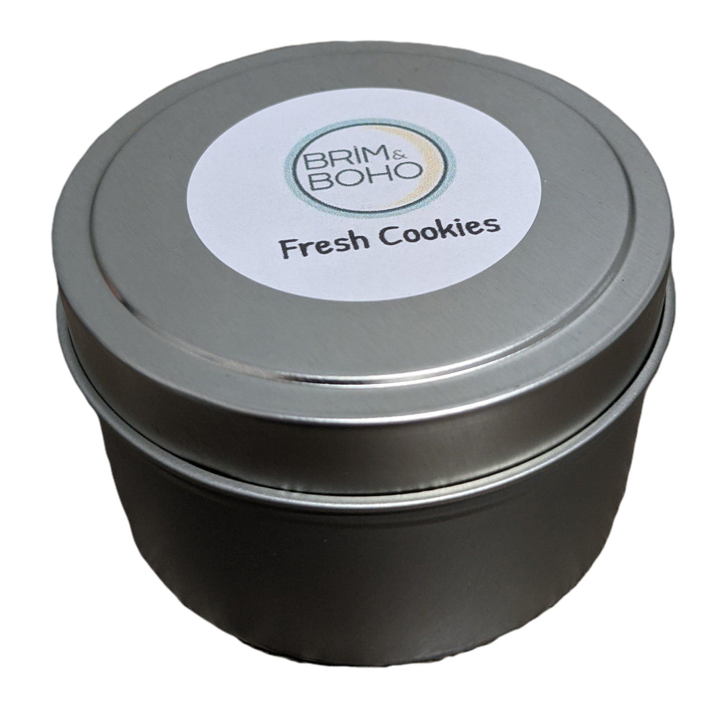 Brim & Boho Limited Edition Travel Tin Scented Candle - Chocolate Chip Cookie - Brim & Boho
