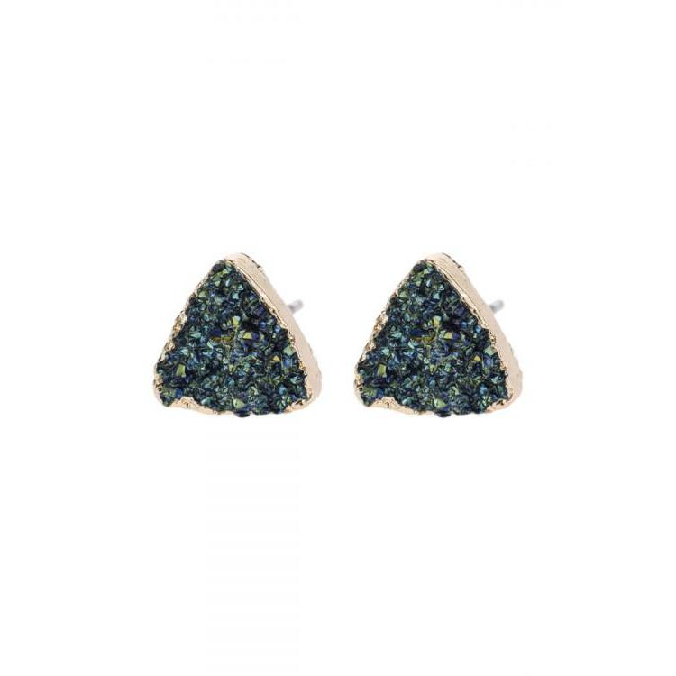 Hematite Druzie Triangle Stud Earrings - Brim & Boho