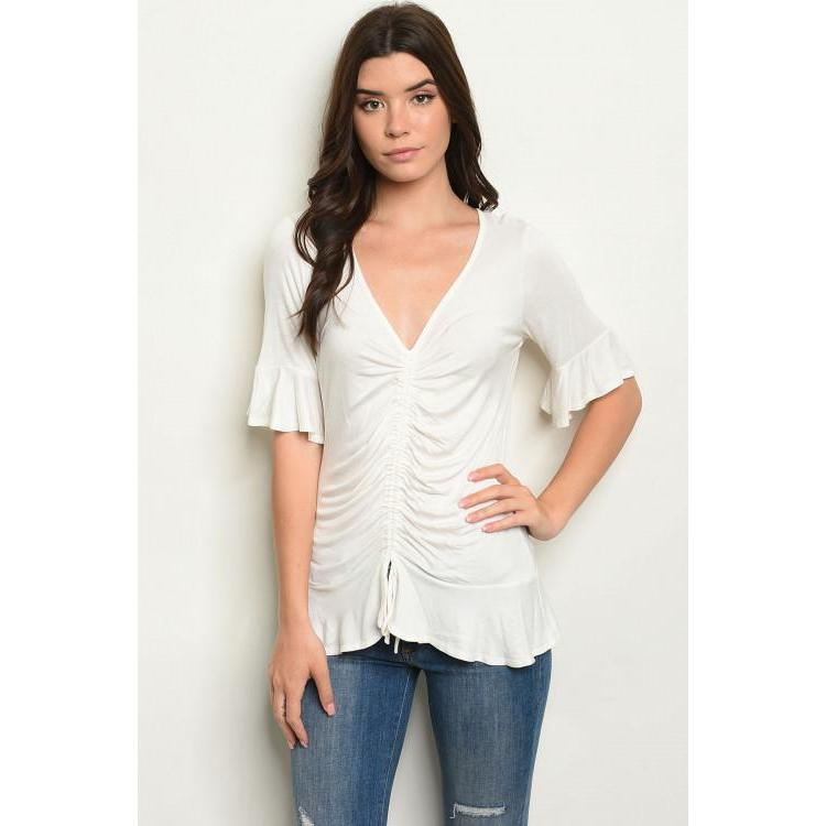 Ivory Tunic Top with Ruffles - Brim & Boho
