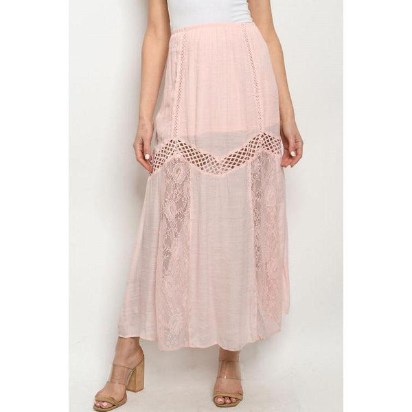Lace Detail Maxi Skirt in Light Pink - Brim & Boho