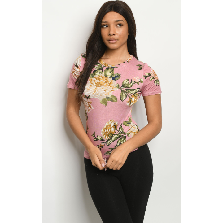 Pink and Olive Floral Top - Brim & Boho
