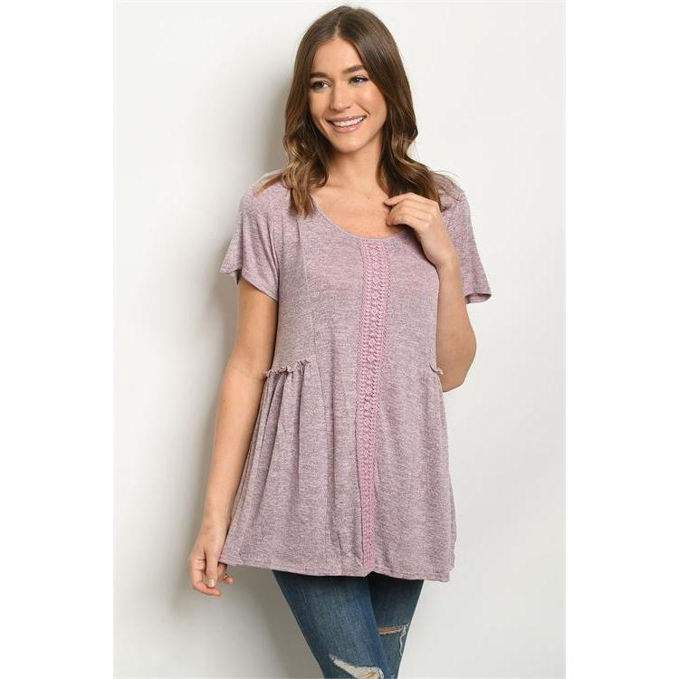 Rose Colored Tunic Top with Lace Detail - Brim & Boho
