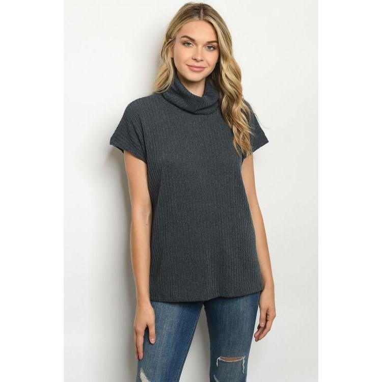 Short Sleeve Turtleneck Top in Charcoal - Brim & Boho