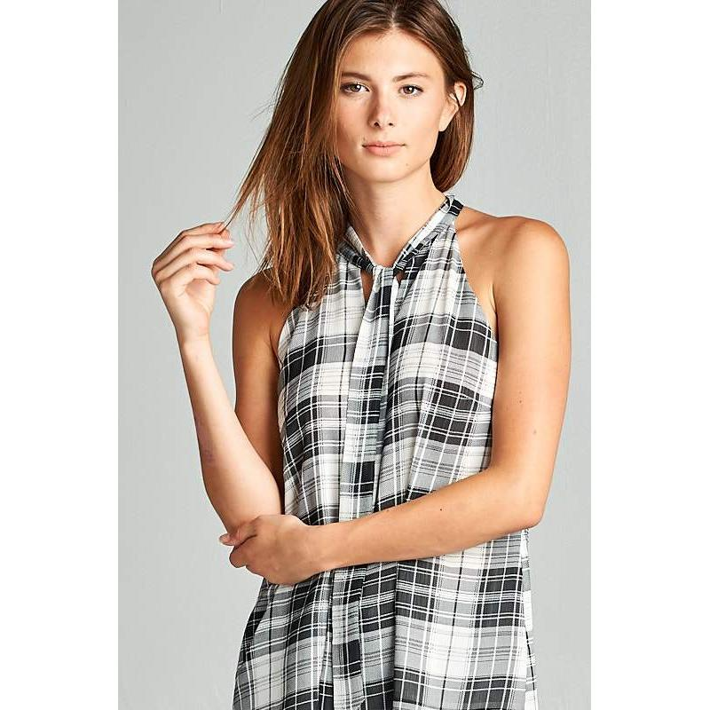 Sleeveless Plaid Shirt - Brim & Boho
