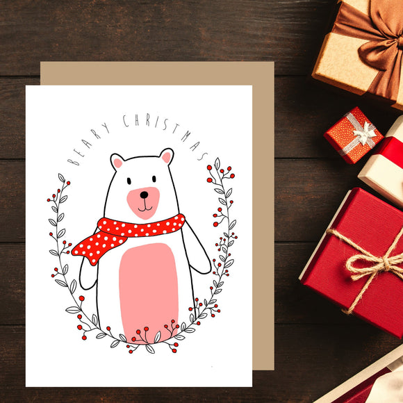 Bear Christmas Card. Beary Christmas. Christmas Puns. Cute Christmas Card