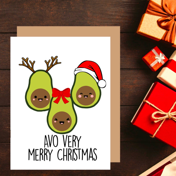 Avocado Christmas Card. Christmas Pun. Avocado Card. Funny Christmas Card