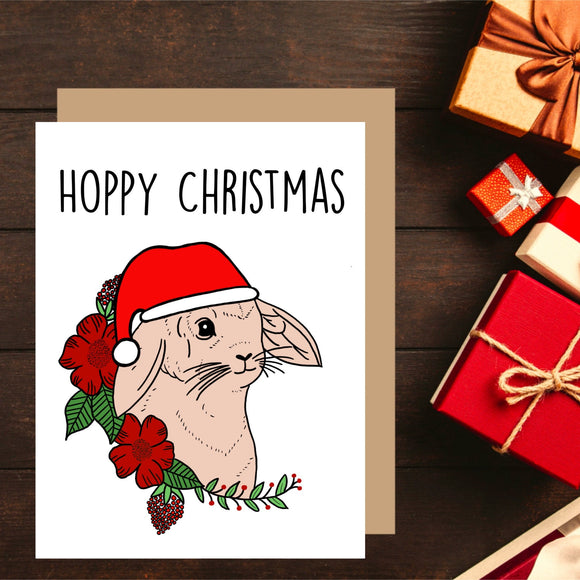 Bunny Rabbit Christmas Card. Hoppy Christmas. Christmas Puns. Cute Christmas Card