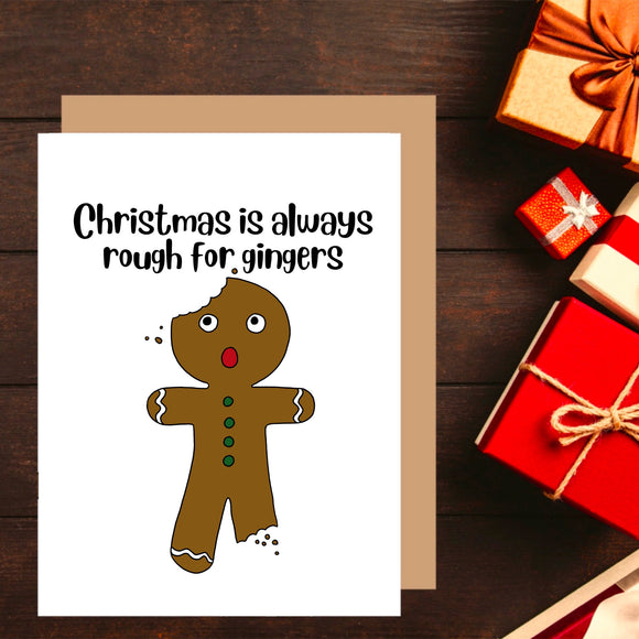 Ginger Christmas Card. Funny Christmas Pun. Gingerbread man