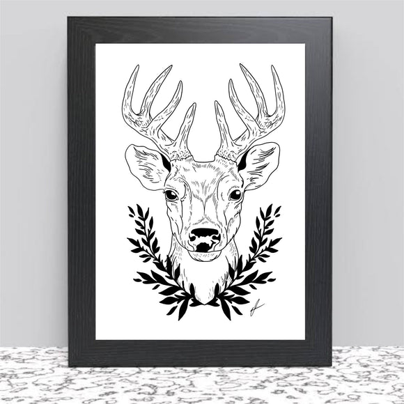 Deer Art Print. Black and White Animal Print. Original Digital Art.