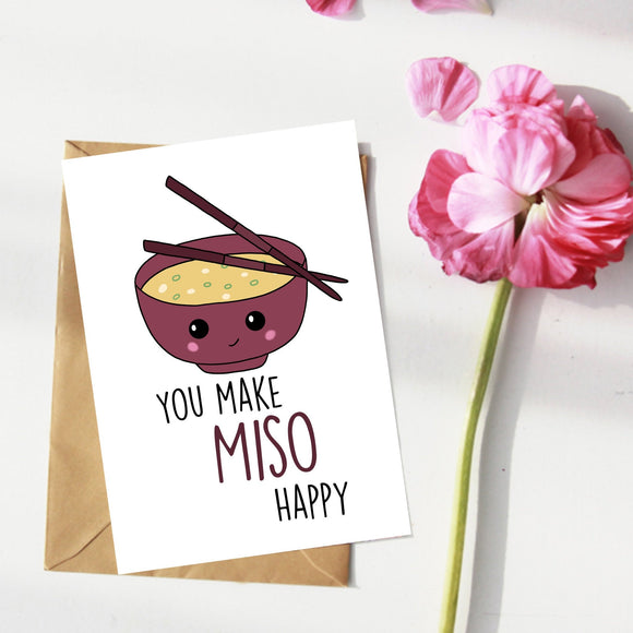 You Make Miso Happy. Love, Anniversary, Valentines Card
