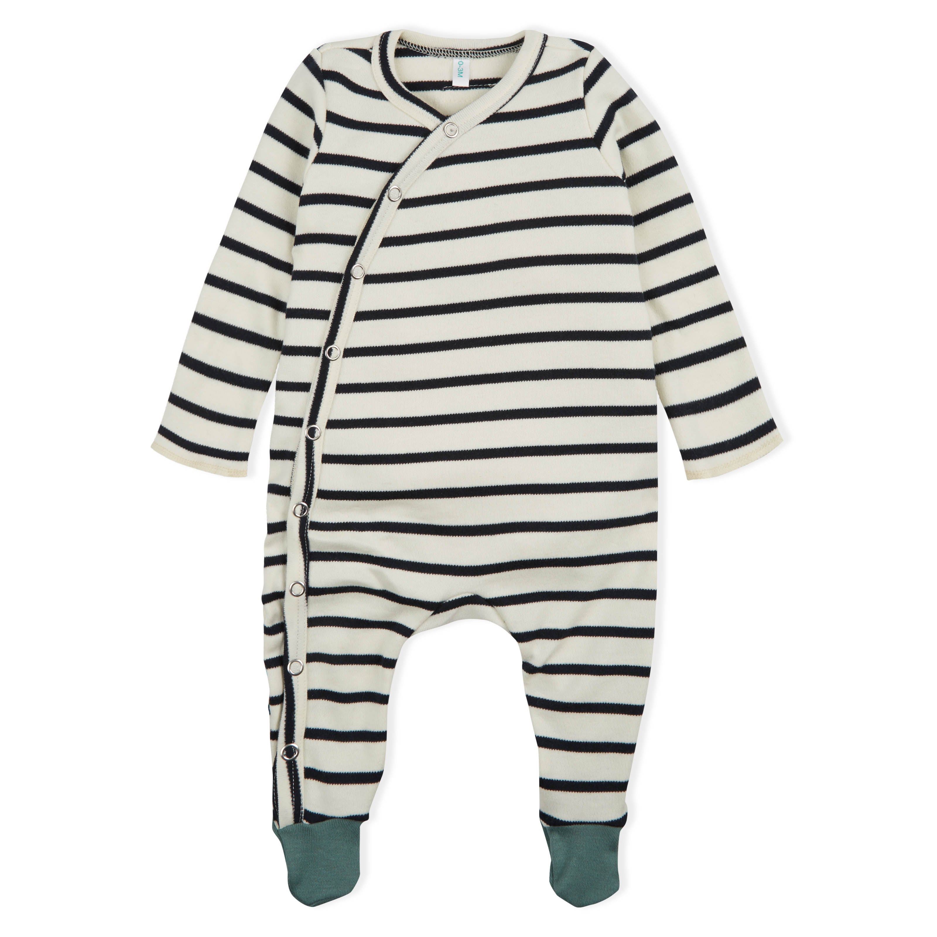 Organic Zoo Breton Stripe Playsuit with Contrast Feet
