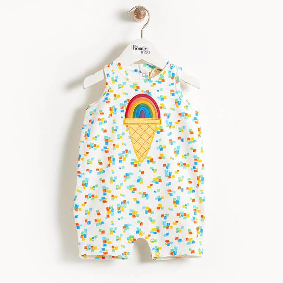 Bonnie Mob Rainbow Ice Cream Sleeveless Romper
