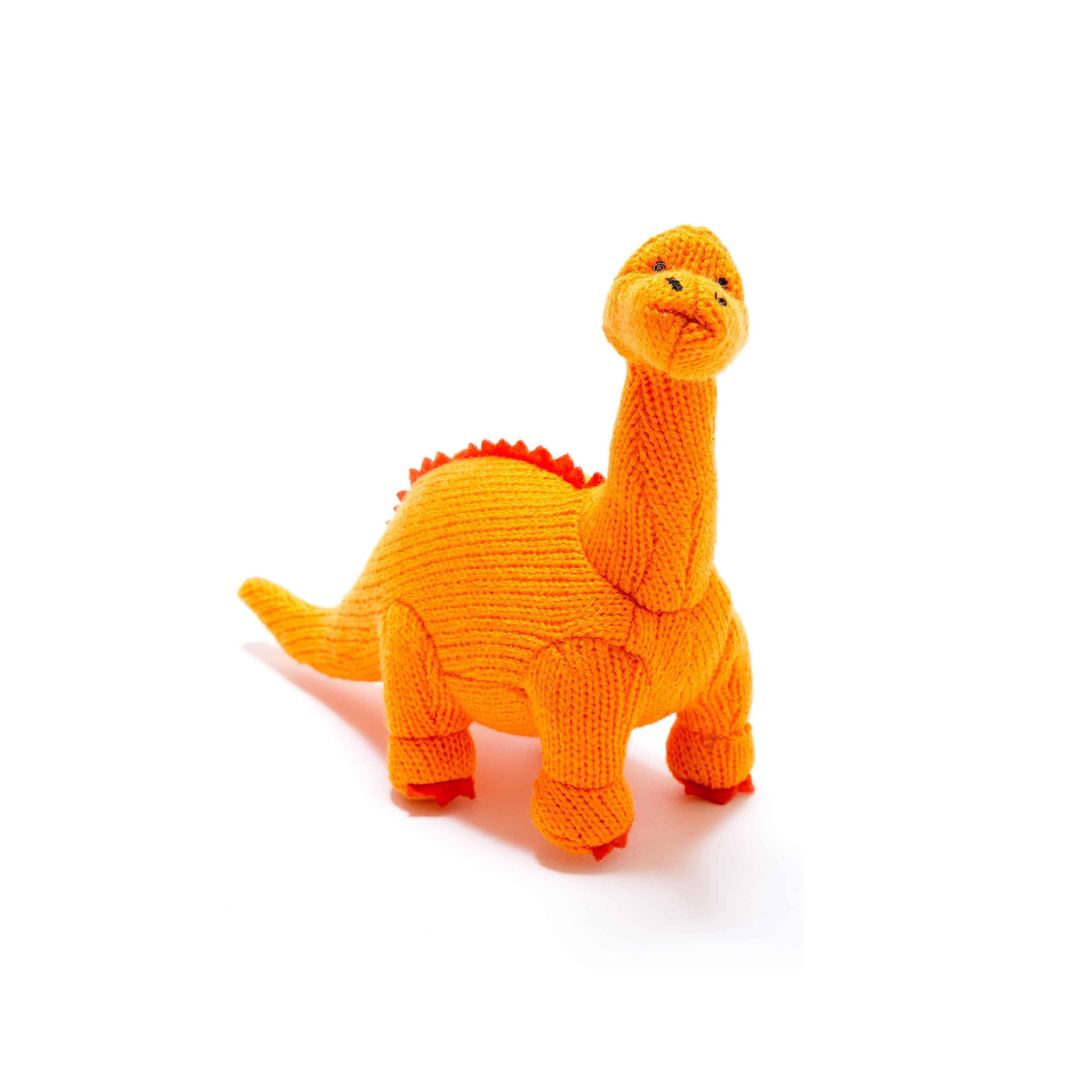 Knitted Orange Medium Diplodocus Toy