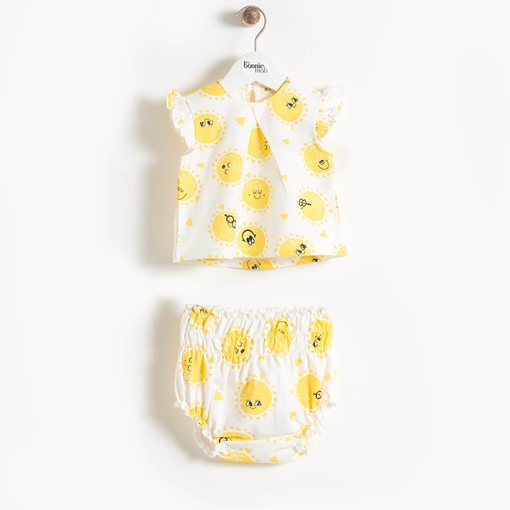 Bonnie Mob Duval Sunshine Print Frill Sleeve Top & Bloomer Set