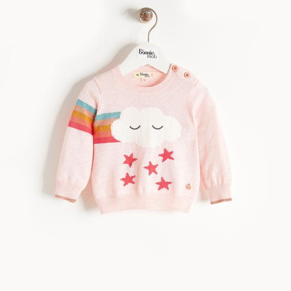 Bonnie Mob Grandmaster Rainbow Cloud Pink Sweater
