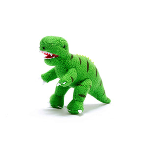 Knitted Small Green T-Rex Rattle