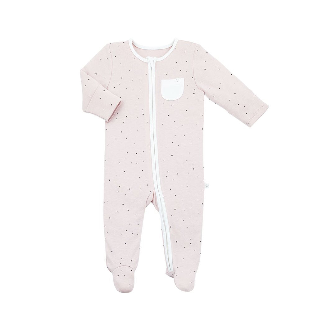 Baby Mori 'Stardust' Print Zip up Sleepsuit