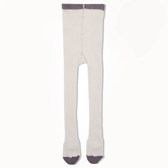 Bonnie Mob Nelson Plain Ribbed Tights - Cream