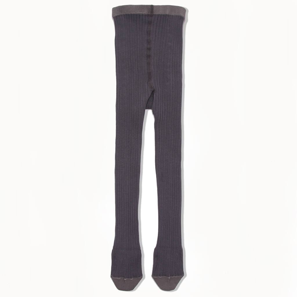 Bonnie Mob Nelson Plain Ribbed Tights - Charcoal