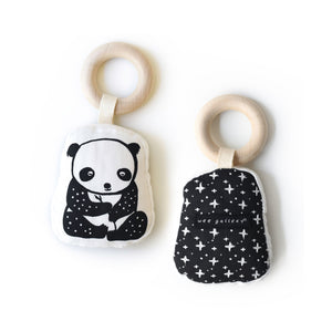 Wee Gallery Panda Teether - Organic Cotton with Wooden Ring
