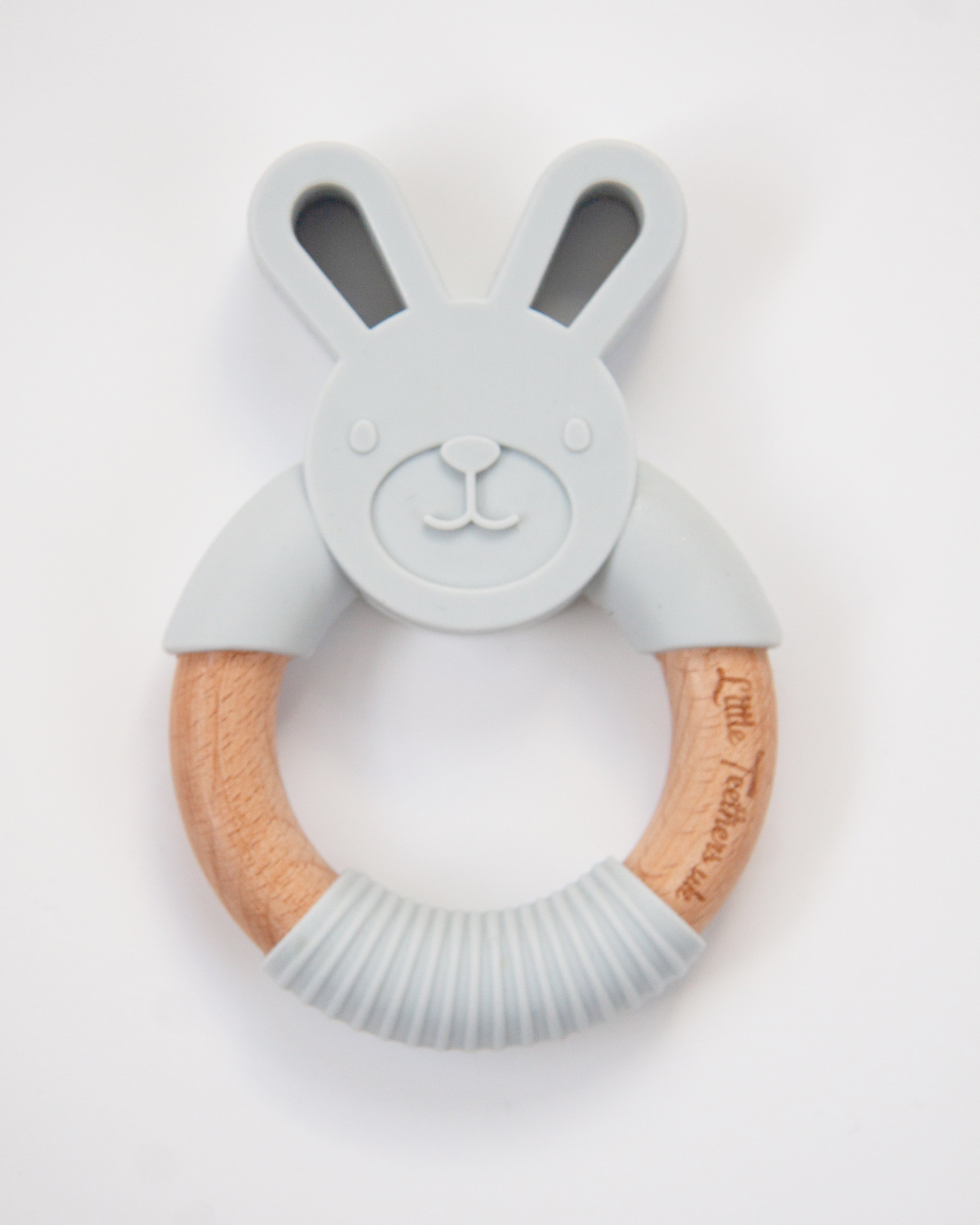 Little Teethers Rabbit Beechwood Silicone Teether - Grey