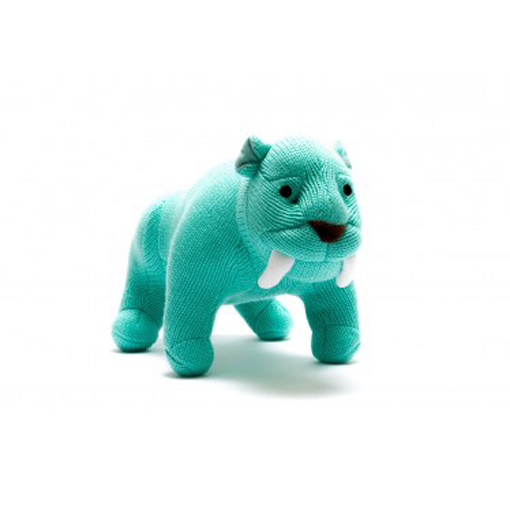 Knitted Ice Blue Sabretooth Tiger Medium Toy