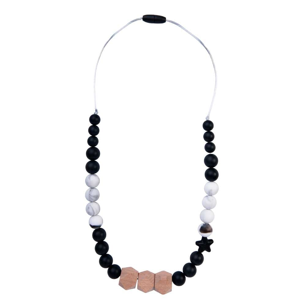 Solar Natural Wood Teething Necklace Black and Marble